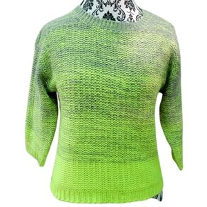 Ombre Neon Green & Gray Cropped Sweater M